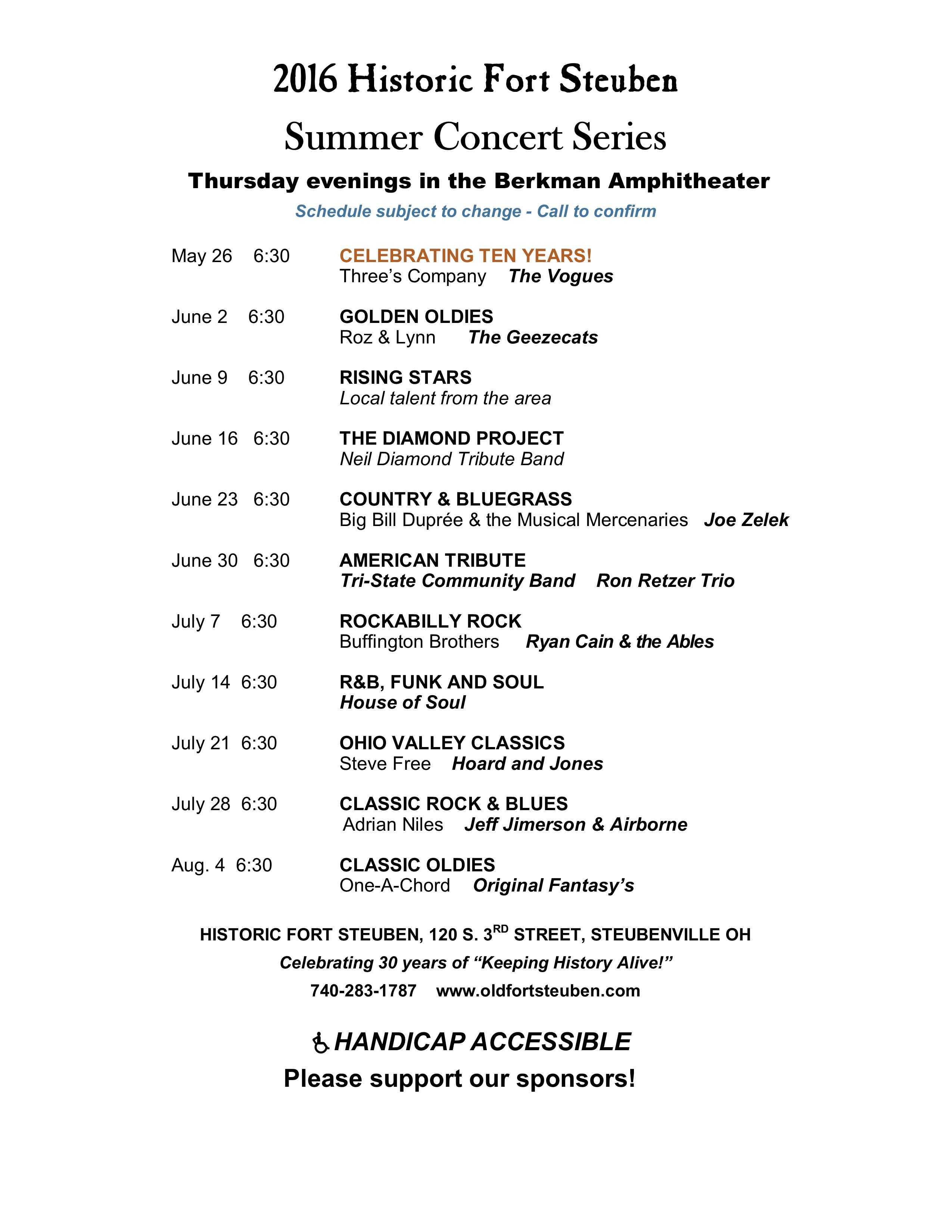2016 Summer Concert Schedule front